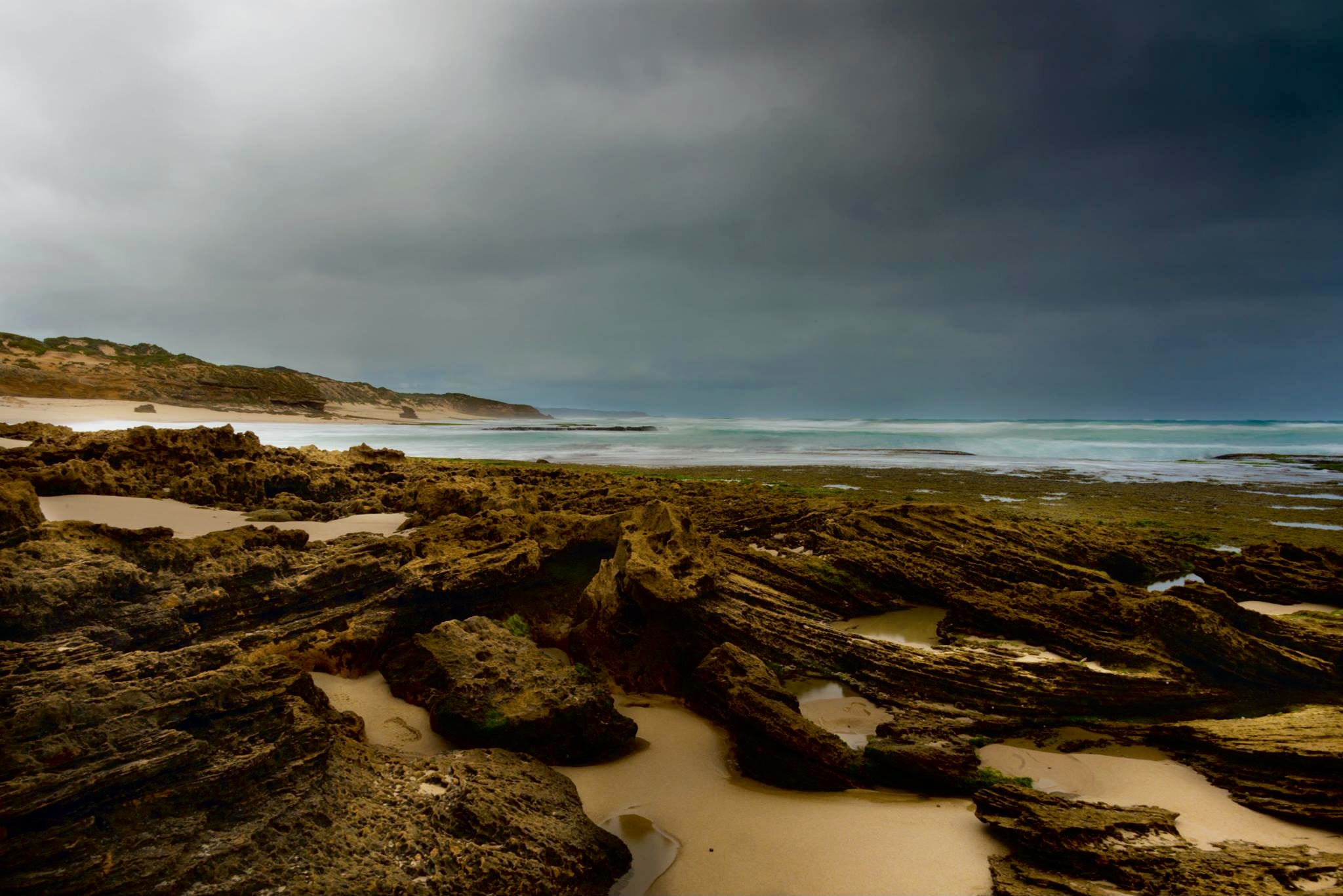 Moody back beach.