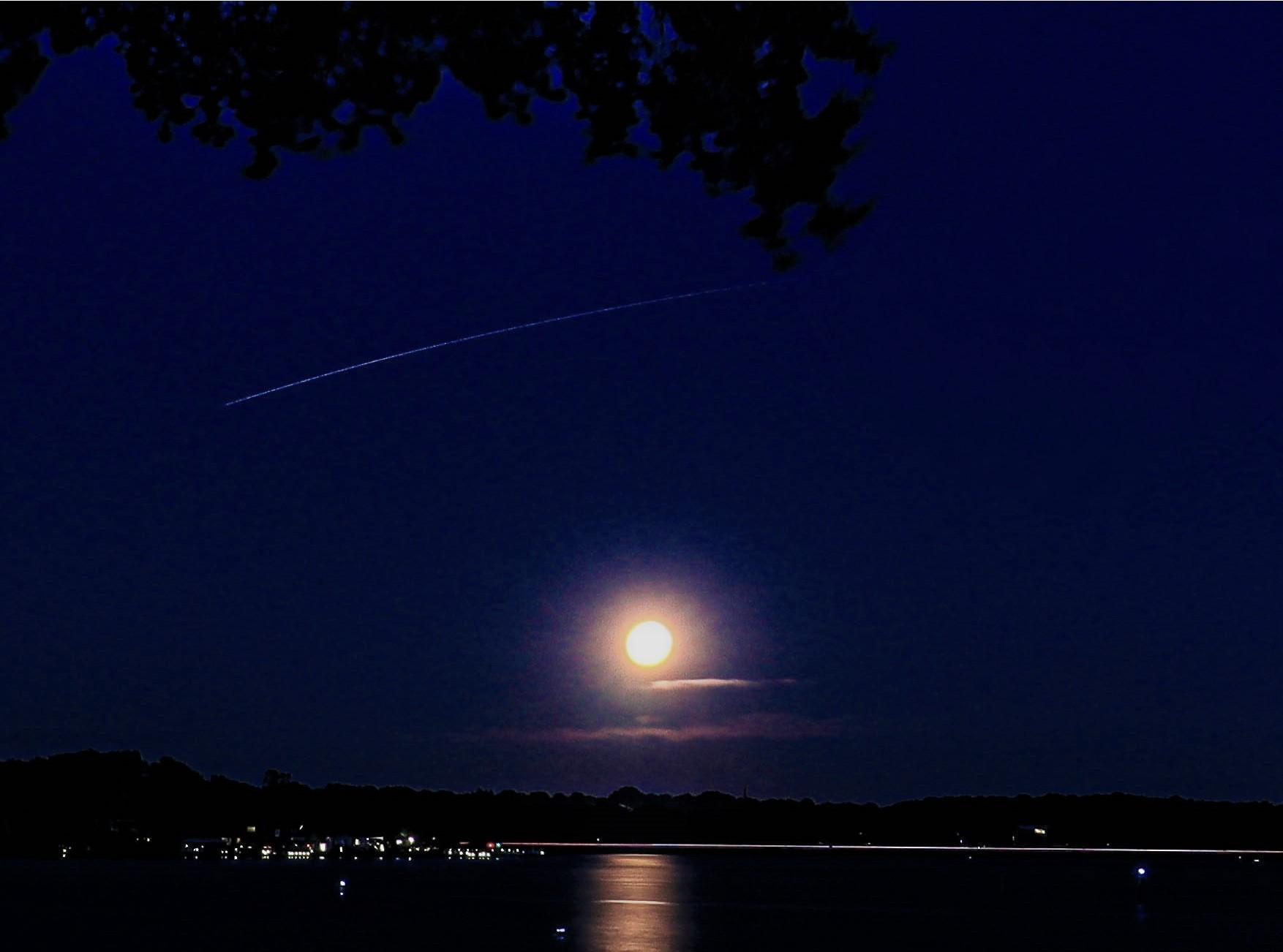 moon and shooting star